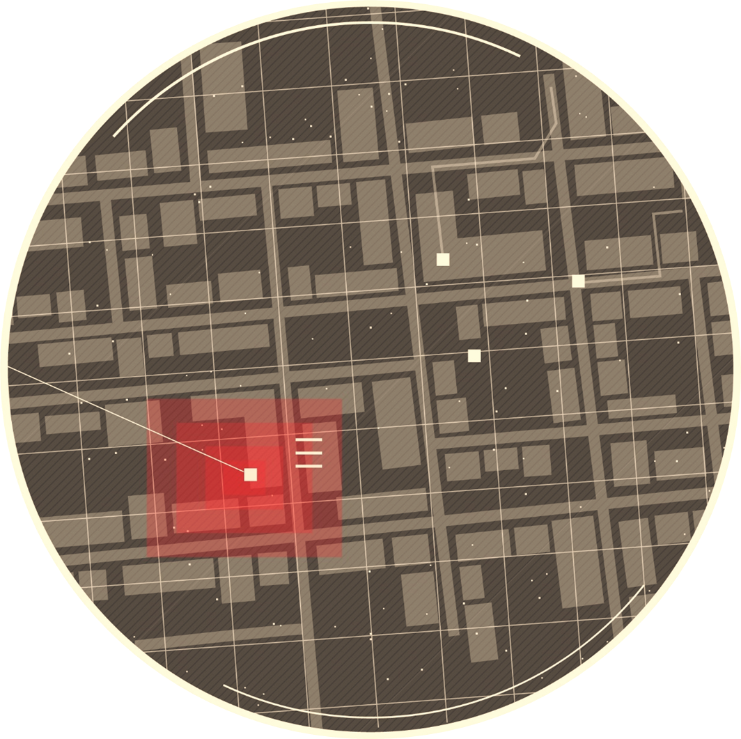 A zoomed in map with red indicating a specific building.