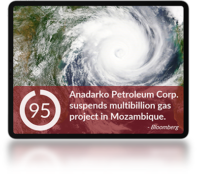 A tablet with a news article title Anadarko Petroleum Corp. suspends multibillion gas project in Mozambique and an aerial image of a hurricane.