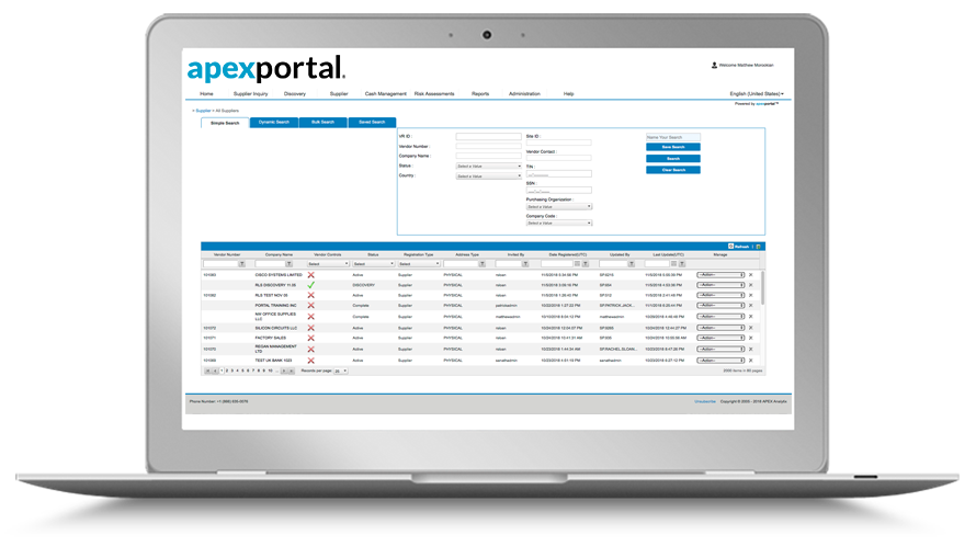 Laptop with APEX Portal dashboard.