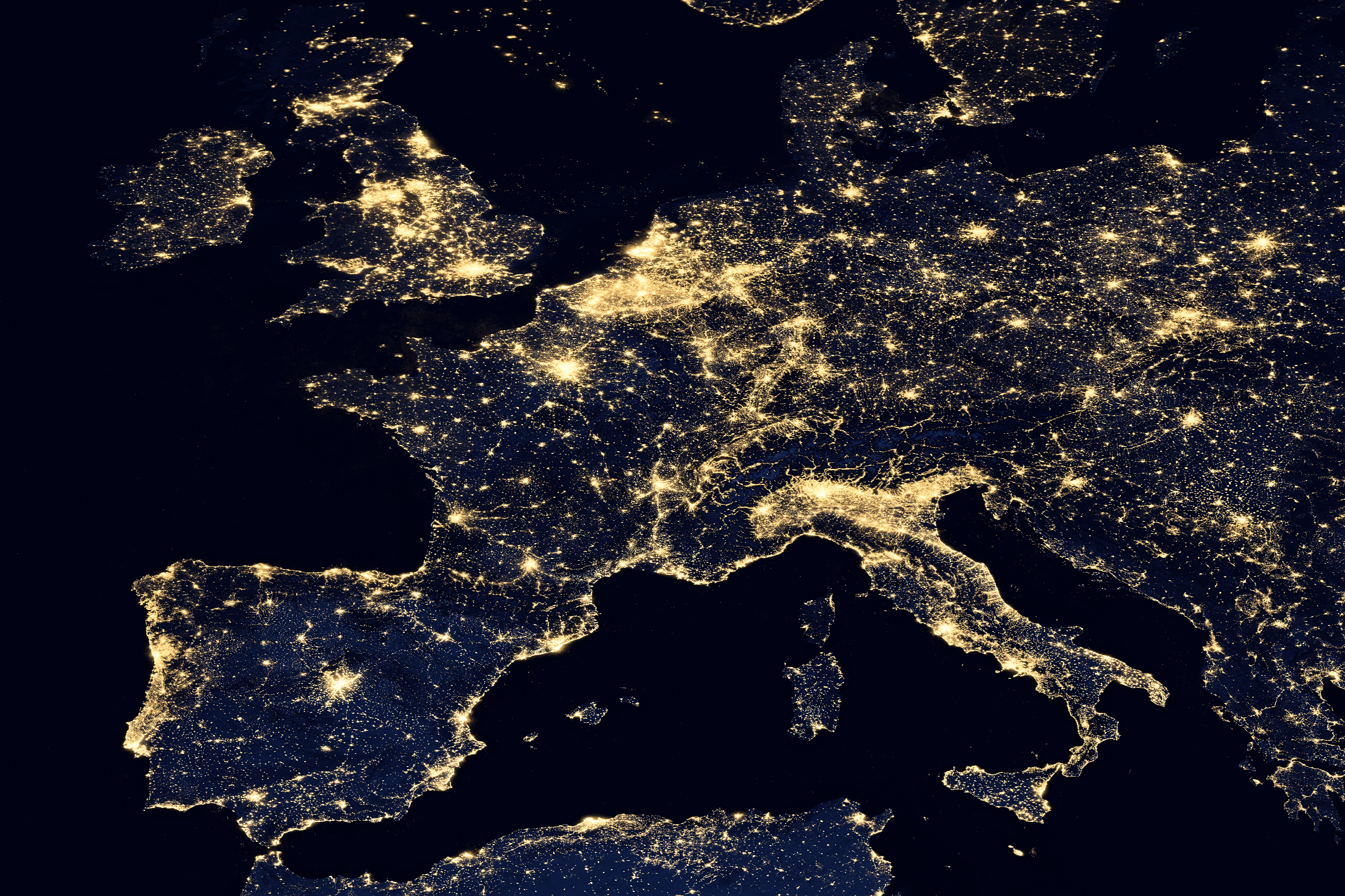 Map of Europe with lights representign the most populated cities.