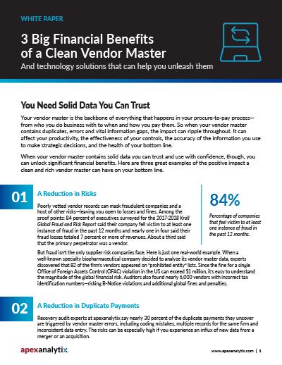 3 Big Financial Benefits of a Clean Vendor Master